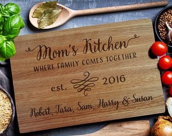 Custom cutting board, Personalized Cutting Board, Mom's Kitchen, Custom Engraved Board,Wedding Monogram, kitchen sign (152)