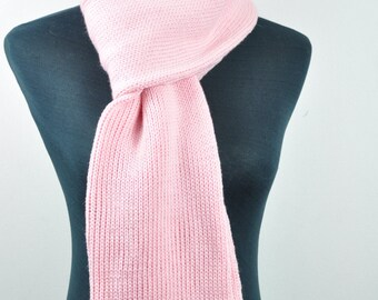 Pink knit scarf, pink merino scarf, hand knitted scarf, wool scarf, Pink scarf,classic woollen scarf, Womans scarf,wool knit scarf