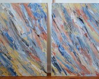 Large Abstract Palette Knife in Blues - (L)