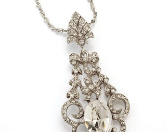 Silver Art Nouveau Bow & Petal Pendant