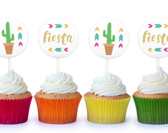 Cupcake Toppers - Fiesta Cactus Cake Toppers, Printable