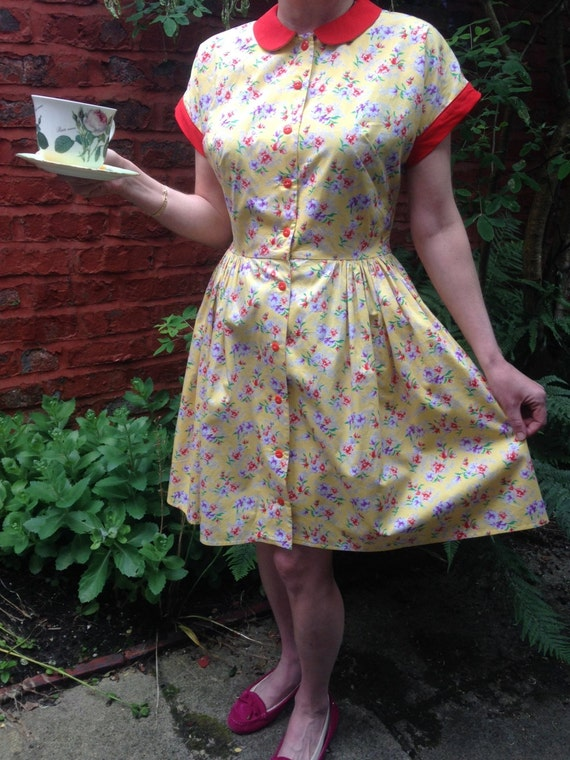 English Garden Party Dress. Retro Yellow Red And Lavender
