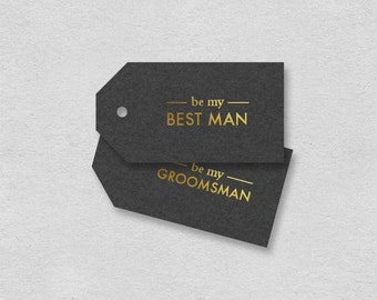 Best man card Groomsman card printable | gift tag will you be my best man | Classic minimalist simple gray gold cool manly label gift note