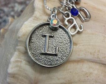 Mother's Necklace w/ Child's Initials and Birthstones