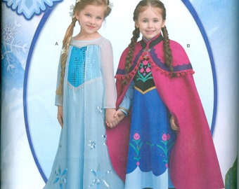 Simplicity 1233 Anna Elsa Frozen Princess Halloween Costume Pattern Toddler