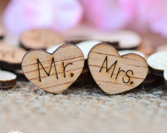 "100 Mr."" & ""Mrs. Wood Hearts 1/2"" - Rustic Wedding Table Confetti - Wooden Hearts"