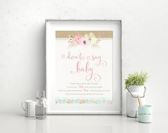 Baby Shower Game, Don't Say Baby, Girl Baby Shower, Dont Say Baby, Clothes Pin Game, Baby Shower Activity, Shower Games, Shabby Chic,