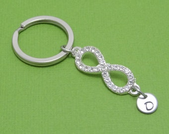 Infinity Keychain, Sparkling Keychain, Personalized Infinity Keychain, Personalized, Engraved, Initial, Monogram, Customized, Gift Idea