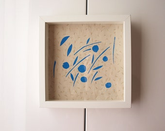 Tree screen print, Fruit screen print, Flora framed art, Blue fruit wall art, Screen print stitches, Fabric screen print art, blue gold leaf