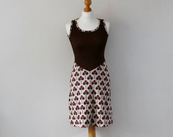 Vintage 1970s Sleeveless Mod Dress | Patterned Mod Dress