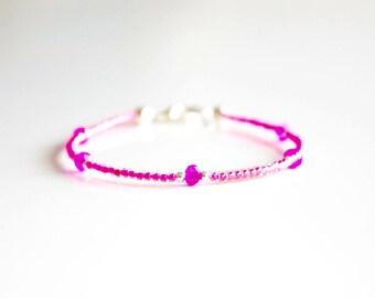 Seed bead bracelet, pink bracelet, neon pink, stack bracelet, delicate bracelet, mothersday present, bridesmaids gift, Wedding gift