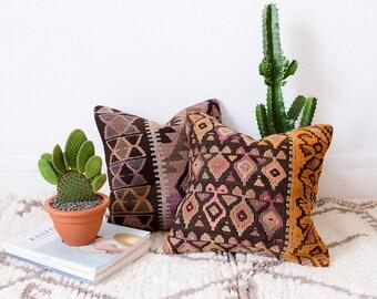 Vintage Turkish Kilim Pillow Cover, Pastel Kilim Pillow, Bohemian Decorative Pillow, Boho Pillow, Turkish Kilim, Pink Pillow, Vintage Pillow