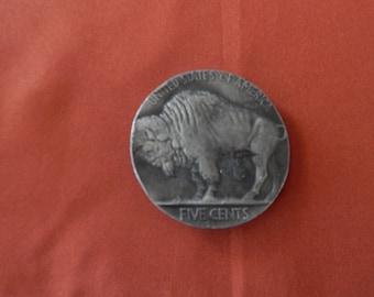 Vintage Belt Buckle of a Buffalo Nickel