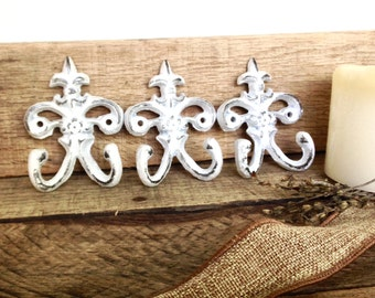 Set of 3 Wall Hooks - White Wall Decor - Key Hook - Shabby Chic Decor - French Country - Wall Hook Set - Key Holder - Wall Jewelry Organizer