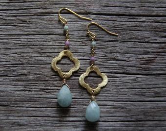 Gold Amazonite Earrings / Quatrefoil Earrings