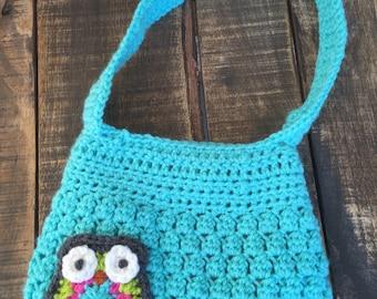 Owl crochet purse for girls with matching fabric lining, owls, handbag,accessories, girls gift