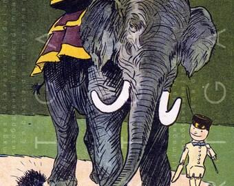 GOLLIWOG & TEDDY Bears Ride At Elephant's Back. Vintage Toys Dolls Illustration Art Deco Nursery Art. Digital Toys Download