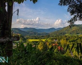 Digital Print, Landscape Photography, Asian Wall Art, Travel Poster Thailand, Asian Decor - Landscape view over Doi Suthep National Park
