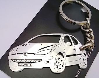 Peugeot 206 Personalized Keychain, Peugeot keychain, Custom Keychain, personalized gift, personalised keyring, birthday gift, boyfriend gift
