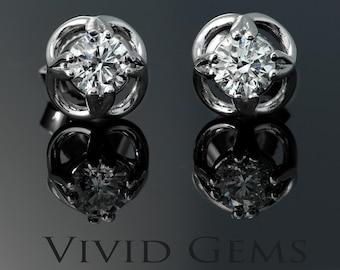 Diamond Earrings in Solid White Gold