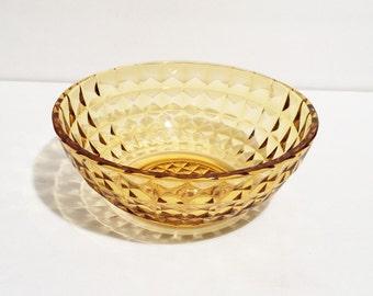 Vintage Amber Cut Glass Large Bowl, Salad Bowl Amber, Diamond Cut Amber Bowl