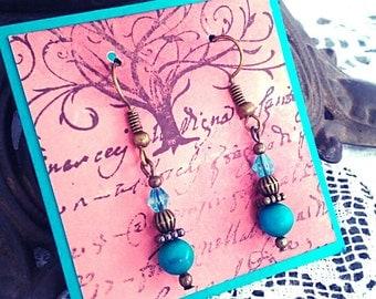 Turquoise blue earrings, turquoise teal stone earrings, bronze earrings,  teal crystal earrings, teal earrings