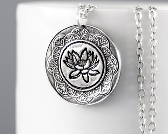 Mandala Necklace - Lotus Flower Necklace - Sterling Silver Lotus Pendant -Lotus Jewelry -Lotus Flower Necklace -Yoga Jewelry - Lotus Mandala