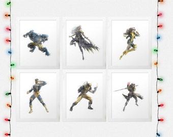 X-MEN SET, X-Men Print Set, Wolverine, Storm, Cyclops, Rogue, Beast, Gambit, Watercolor, Nursery, Prints Sale, Free Posters, Digital Prints