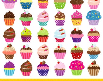 Assorted Cupcakes Clip Art, Cute Birthday Colorful Cupcakes Clipart, Party Cupcakes Clipart, Sweet Cupcakes Digital Download Vector