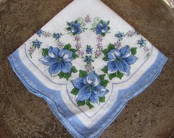 Vintage Handkerchief with Blue Flowers, Vintage Hankie, Blue Flowers, Something Blue, Bridal, Wedding, VHIS