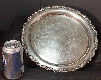Vintage Oneida 12 inch Silver Plate Serving Tray in Poole Style