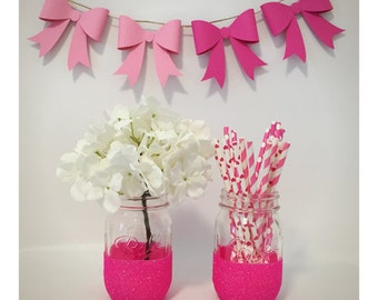 Set of two hot pink glitter mason jars, pink decor, wedding decor, home decor, party decor, glitter decor, flower vase, barbie pink, gift