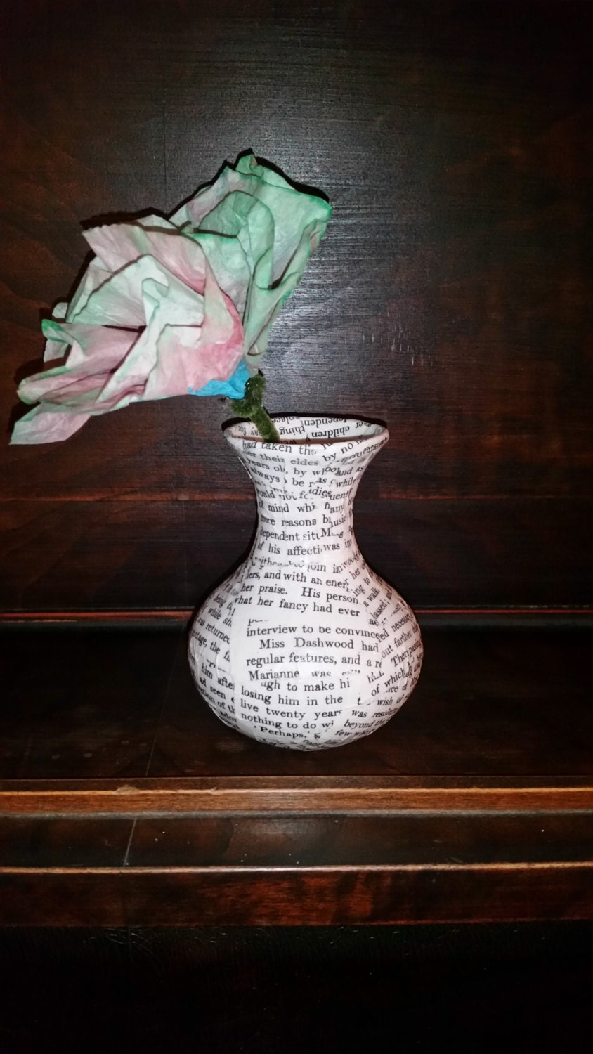 Jane Austen Book Pages Vase Upcycled Book Pages Vase