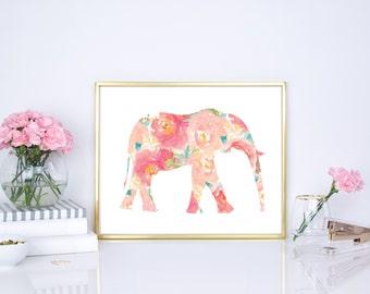elephant print, floral elephant decor, elephant party decor, flower elephant, pink elephant, elephant floral print, elephant nursery decor