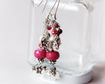 Unique floral earrings, Shiny gemstones and natural pearls, Wire wrapped cluster earrings, Citrine, Jade, Smoky quartz, Garnet, Gift for her
