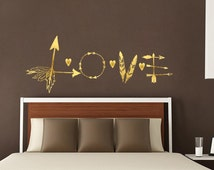Arrow Decals Love Wall Decals Vinyl Letter Feather Sticker Heart Indie Boho Bohemian Bedroom Decor for Home Valentine's Day Decor T54