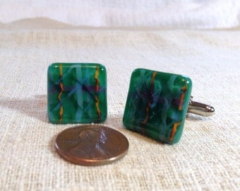 Green Fused Glass Cuff Links