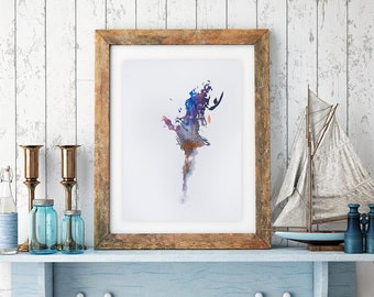 Dancer painting art print, Abstract painting dancer art, dancer Watercolor Painting Dancer  Wall Decor abstract modern art, dance art