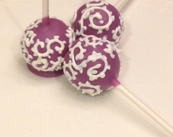 Bridal Shower Cake Pops/Wedding Favors/Birthday Treats Solid Color Cake Pops with Scroll Flourish