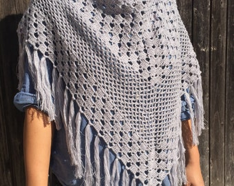 Gray Wraps Shawl, Gray Crochet Scarf