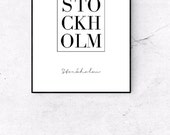 Stockholm Sweden Print Nordic Scandinavian art Fashion Minimalistic Printable Art Inspirational Print Poster Typography Home Decor Wall Art
