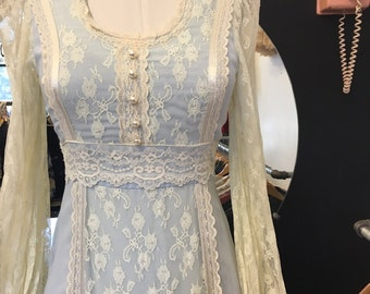 Baby Blue Lace Gunne Sax Maxi Dress Gown Size Small Vintage