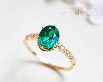 14K/18K Emerald Engagement Ring with Diamond, Solid Gold Emerald Crown Ring, Vintage Inspired Green Emerald, May Birthstone, Birthday Gift