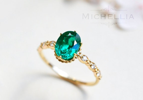 14K 18K Emerald Engagement Ring with Diamond Solid Gold