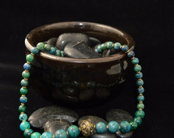 Chrysocolla and turquoise necklace with antiqued brass bead