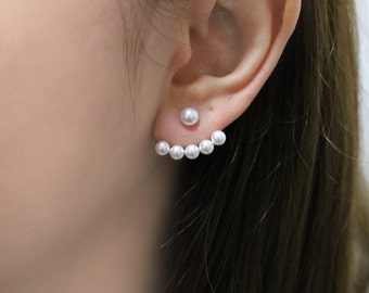 Pearl Ear Jacket, Pearl Earrings, Pearl Front Back Earrings, Bridal Earrings Pearl, Wedding Jewelry, Bridal Ear Jacket, Modern Pearl Studs