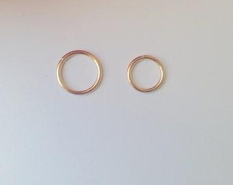 14K Gold Filled  Septum Ring.16 gauge 8 mm 10 mm  Septum Ring.