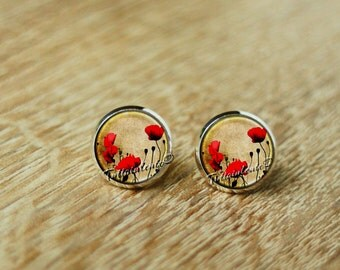 Red Poppy Stud Earrings, Red Poppies Post, Floral Jewelry, Nature Jewelry, Gift for Her,