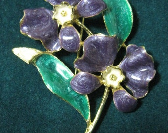Enameled Flower Brooch