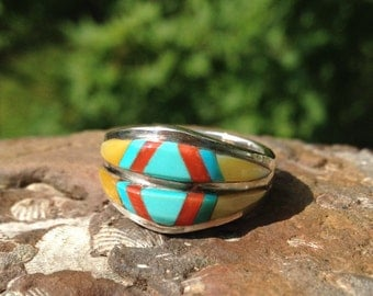 Sterling Silver Navajo Ring – Navajo Ring - Inlay Ring – Turquoise Ring – Native American Ring – Native American Jewelry – WhistlingGypsyVTG